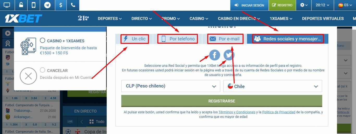 Posibilidades de registro 1xBet Chile